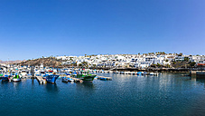 Spain, Canary Islands, Lanzarote, fishing harbor and coastal village Puerto Del Carmen - AMF003431