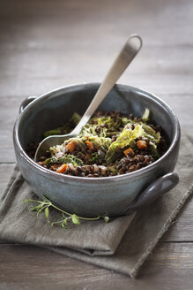 Bowl of beluga lentil stew with savoy, tomatoes and carrots - EVGF001038