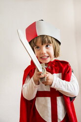 Portrait of little girl masquerade as a knight - LVF002459