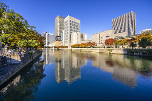 Japan, Osaka, Nakanoshima district, skyscrapers at the water - THAF001033