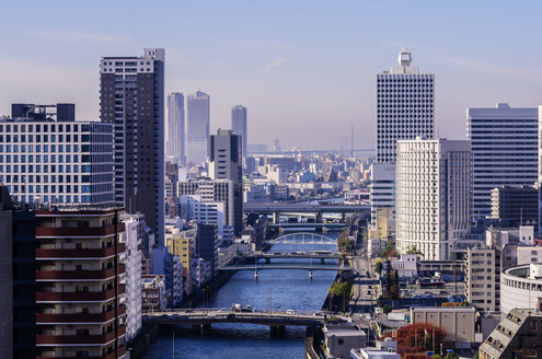 Japan, Osaka, Nakanoshima district, cityscape with Yodo River - THAF001027