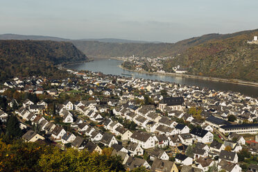 Germany, Rhineland-Palatinate, view to Bad Salzig and Rhine River from above - DWF000208