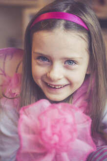 Portrait of smiling little girl masquerade as a fairy - SARF001159
