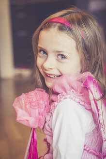 Portrait of smiling little girl masquerade as a fairy - SARF001157