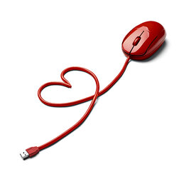 Red computer mouse and cable shaped like a heart on white ground - RAMF000009
