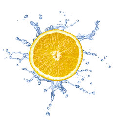 Slice of orange with water splash in front of white background - RAMF000018