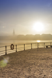 Germany, Hamburg, silhouette of town hall looming through the dense fog over the Alster lake - NKF000217