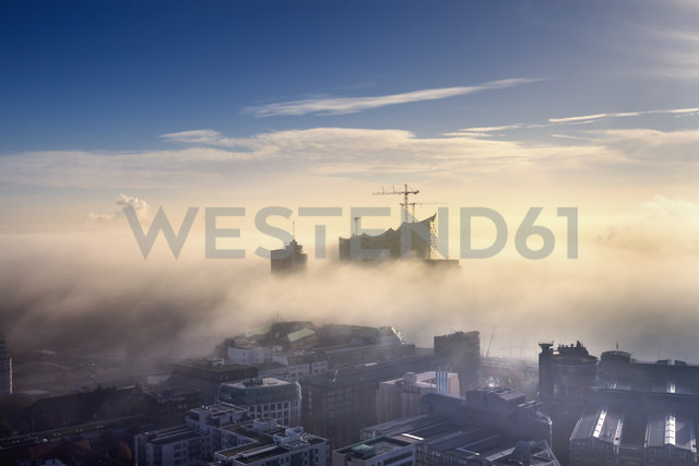 Germany, Hamburg, aerial view of the Elbphilharmonie and city in dense fog - NKF000220