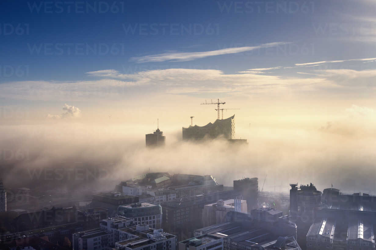 Germany, Hamburg, aerial view of the Elbphilharmonie and city in dense fog - NKF000220 - Stefan Kunert/Westend61