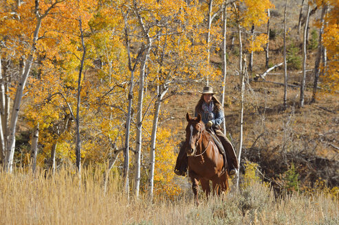 USA, Wyoming, Big Horn Mountains, riding cowgirl in autumn - RUEF001294