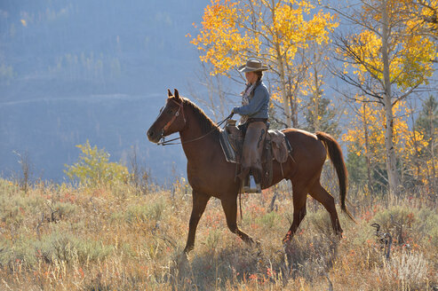USA, Wyoming, Big Horn Mountains, riding cowgirl in autumn - RUEF001310
