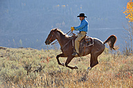 USA, Wyoming, Big Horn Mountains, riding cowboy in autumn - RUEF001338