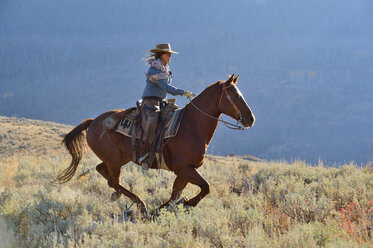 USA, Wyoming, Big Horn Mountains, riding cowgirl in autumn - RUEF001324
