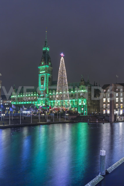 Germany, Hamburg, Steel Christmas tree at market in front of illuminated town hall - NKF000211 - Stefan Kunert/Westend61