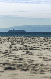 Spain, Andalusia, Tarifa, cargo ship on the ocean - KB000255