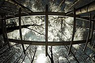 Worm's eye view of playground with sky and trees - DW000221