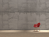 Red design chair in front of concrete wall, 3D Rendering - UWF000304