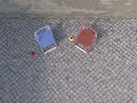 Two folding chairs and cups of coffee on pavement at courtyard, 3D Rendering - UWF000303