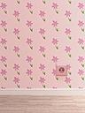 Pink socket on pink wallpaper with floral design, 3D Rendering - UWF000286