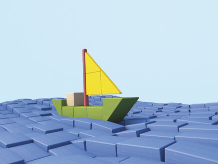 Shipping sailing boat made of building bricks, 3D Rendering - UWF000289