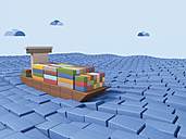 Shipping container ship made of building bricks, 3D Rendering - UWF000290