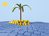 Island with coconut palm made of building bricks, 3D Rendering - UWF000291