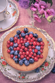 Still life with blueberries and red currant on the rural style table - VTF000368