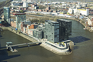 Germany, North Rhine-Westphalia, Duesseldorf, view to Media harbour from above - DWIF000360