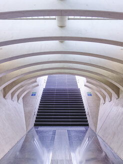 Belgium, Wallonia, Liege, Liege-Guillemins railway station, modern architecture, exit and steps - SEG000189