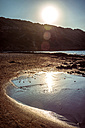 Spain, Balearic Islands, Menorca, Cala bay at sunset - EHF000011