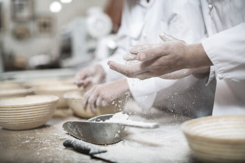 Baker preparing ceramic bowls for baking bread - ZEF003776