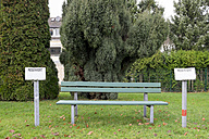 Germany, Aachen, empty bench with reserved signs - HLF000831