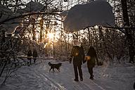 Germany, Bavaria, Munich, people walking in snow - FCF000605