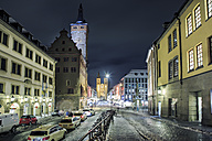 Germany, Bavaria, Wuerzburg, Domstrasse and Cathedral at night - VT000378