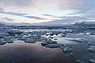 Iceland, Joekulsarlon, glacier lake in the evening light - ATAF000103