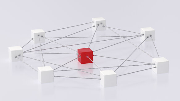 3D rendering of cubes tied up with rope - UWF000305
