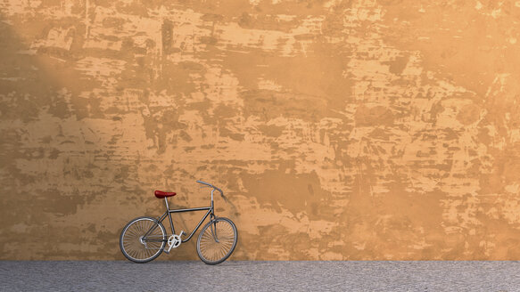 3D rendering of bicycle leaning against concrete wall - UWF000323
