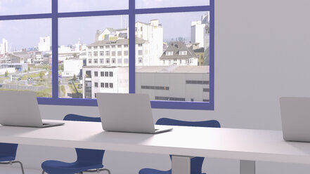 3D rendering of laptops in conference room - UWF000337