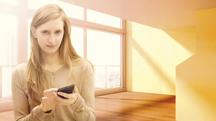Young woman using cell phone in empty apartment, composite - UWF000339
