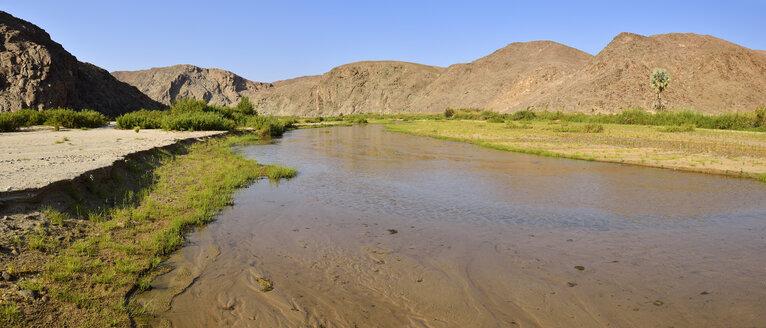 Namibia, Kaokoland, Namib Desert, running water and green vegetation along Hoarusib river - ESF001496