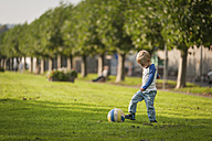 Boy playing soccer on meadow - PAF001159