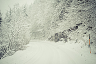 Germany, Bavaria, Berchtesgadener Land, rural road in winter landscape - MJF001396