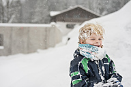 Germany, Bavaria, Berchtesgadener Land, happy boy in winter - MJF001434