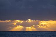 Spain, Canary Islands, La Gomera, Valle Gran Rey, cloudy evening sky over the sea - SIEF006356