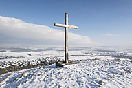 Germany, Constance district, wooden cross on summit in winter - ELF001458