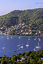 Caribbean, Antilles, Lesser Antilles, Grenadines, Bequia, Bay with sailing boats - THAF001146