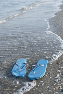 Italy, Adriatic Sea, Flip flops and sea shells on beach - CRF002633