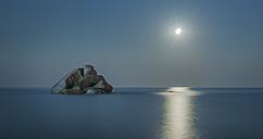 Italy, Sardinia, Tortoli, Cea beach, rock in the Mediterranean Sea at night - JBF000237