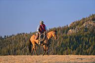 USA, Wyoming, riding cowboy at evening light - RUEF001403