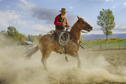 USA, Wyoming, Cowboy working with horse - RUEF001356
